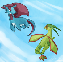 Salamence and Flygon by Sunnynoga