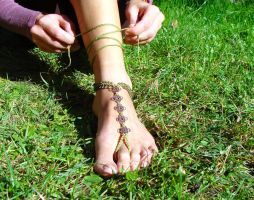 Green Barefoot Sandal by noisypixie