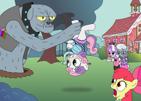 Request: Sweetie Belle and the Diamond Dog by ElephantEddie
