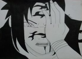 sasuke curse mark mode by Moudz13