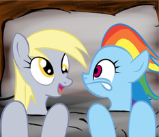 Derpy and Rainbow Dash in bed by martybpix