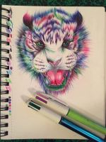 Ballpoint tiger by Menelique