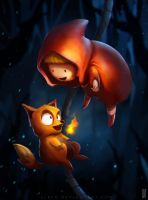 Little Witchie and the Fire Fox by alben