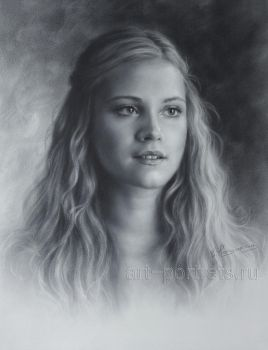 Eliza Taylor Drawing Portraits by Dry Brush by Drawing-Portraits