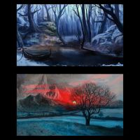 Winter Environment Sketches by TobyFoxArt