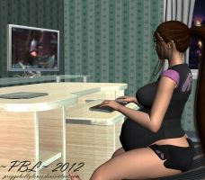 Late Night Gaming by PreggoBellyLover