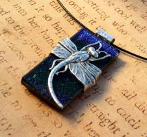 Dark Blue Purple Dragonfly Wrap Glass Pendant by FusedElegance