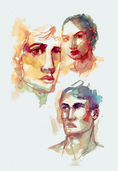 Watercolor portraits by TEAofeyes