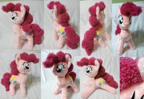 Large Pinkie Pie plushie, faux fur + curly fur by Rens-twin