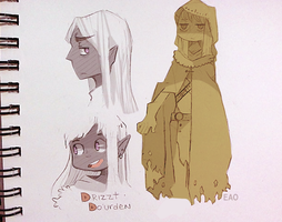 Drizzt sketches by OrangeLightning123