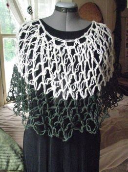 White and dark green poncho by sarlaz