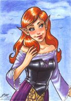 Elf Girl ACEO by em-scribbles