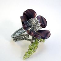 Beaded Flower Ring by bugsandbears