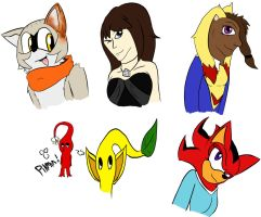 Skecthes of characters 1 by FlameoftheDark