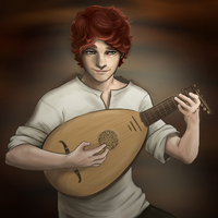 Kvothe and his lute by aibunny