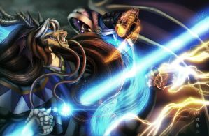 Tali'zorah Fights the Emperor by Ghostwalker2061