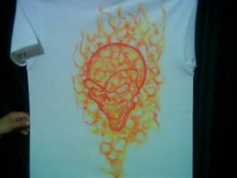 SKULL RED FLAMES by javiercr69