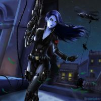 Overwatch x Avenger: Black Widowmaker by drakelaker