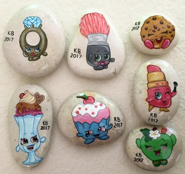Painted Rocks - Shopkins by starfiregal92