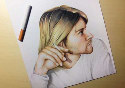 Kurt Donald Cobain with his Cigarette by Gutter1333