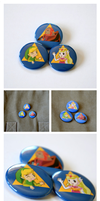 Zelda: Triforce Button Set by artshell