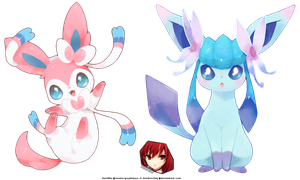 Pokemon chibi render Sylveon Glaceon double render by OneExisting
