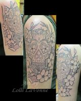 Sugar Skull outline session 1 by lavonne