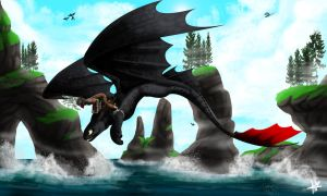 Hiccup and Toothless - Flying High by ACwhitewolf168