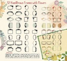 32 Hand Drawn Frames With Flowers by Diamara