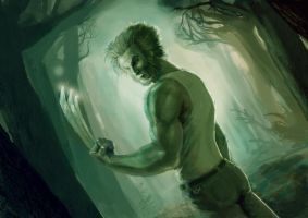 Wolverine in forest by cheatingly
