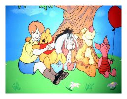 old pooh mural by Freds-head