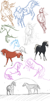 Horsey Sketch Dump by Whisperah