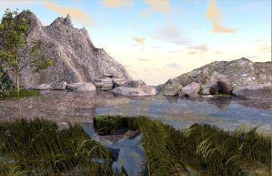 Small lake in the mountains by Artsoni3D