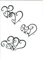 K and D Heart Tattoo Designs by melloteddy