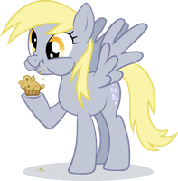 Derpy Hooves eating muffin by Ininko