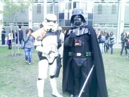 Darth Vader with a Trooper by Roxellana