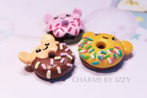 3x Kawaii animal donut charms by CharmsByIzzy