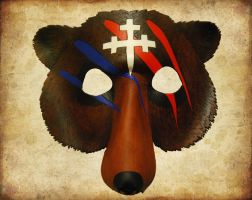 Leather Bear Mask with War Paint by ContessaEsselia