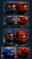 Red and Blue Spartan Helmets 2 by Wallcrawler62