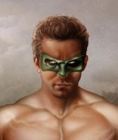 GREEN LANTERN Close up face by MaleArtist
