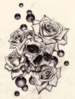 Skull and roses by Slabzzz