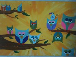 Who? Acrylic Owl Painting by originalwillow