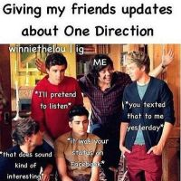 Giving Friends Updates About One Direction by CharmedCinnimon