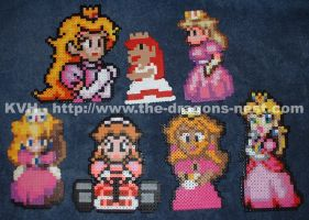 Perler Bead Princess Peach-es by pinkdramon