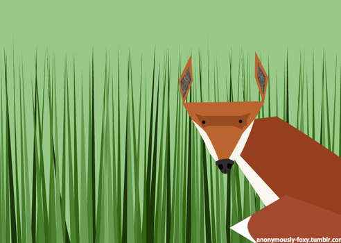 Fox in Long Grass with my url by Anon-Fox