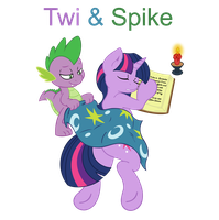 Twi and Spike by guitarbrony