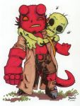Chibi-Hellboy and Corpse. by hedbonstudios