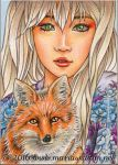 Animal Yokai - Kitsune (Fox) ACEO by MJWilliam