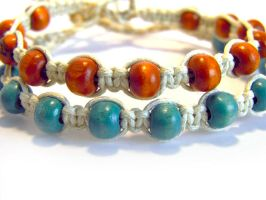 Bracelets with wooden beads brown and turquoise by EerinVink