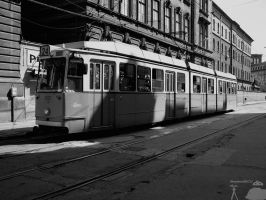 KCSV7 Tram in Budapest - BW by morpheus880223